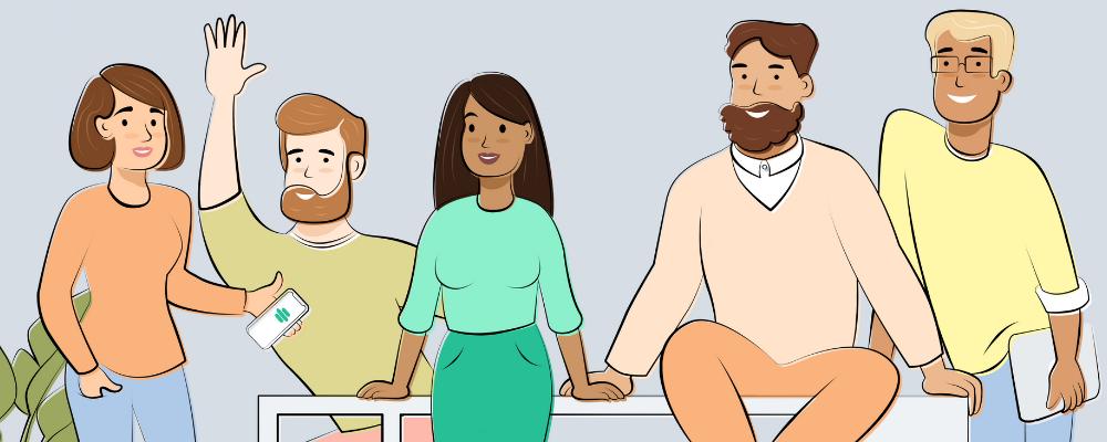Fem mennesker stående og sidder i række, en af dem holder en smartphone med Rehaler-appen.